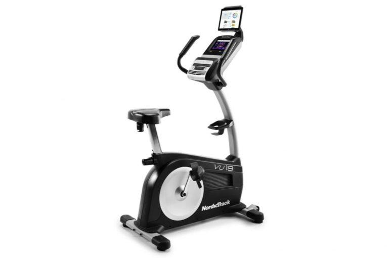 The Commercial VU19 Stationary Bike includes 28 workouts and can be used with iFit. Given its 19-­pound drive, this machine can support great cardio workouts.