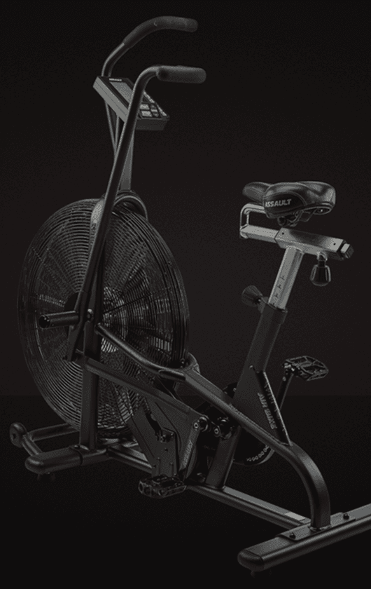 A black and silver exercise bike.